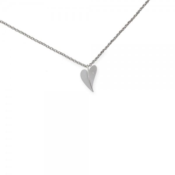 Ernstes Design Anhänger, AN279, Herz aus Edelstahl mit Diamant ohne Kette