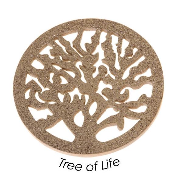Quoins Schmuck Münze Scheibe Baum in Edelstahl rosé Tree of Life QMOV 04 R in L