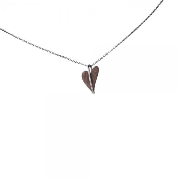 Ernstes Design Anhänger, kleines Herz aus Edelstahl altbronze beschichtet ohne Kette, AN416