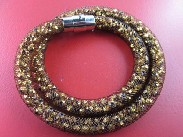 Sternenglitzer-Look Armband Farbe gold-schimmernd, geflochtenes Armband mit Steinen