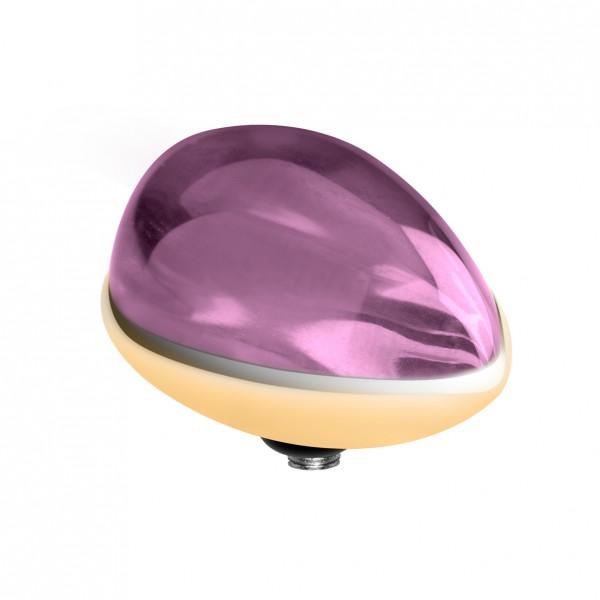 Melano twisted Fassung, Aufsatz Edelstahl Farbe gold mit Zirkonia in Tropfenform Marquise für Ring