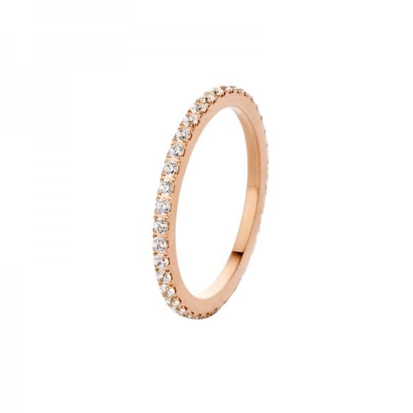 Melano Vorsteckring, schmaler Ring aus Edelstahl beschichtet rosé mit Zirkonia Farbe Kristall