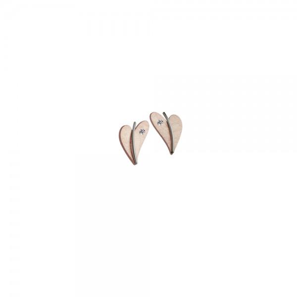 Herz Ohrstecker von Ernstes Design Edelstahl rotgold mit Diamant, E266 geschwungenes Herz