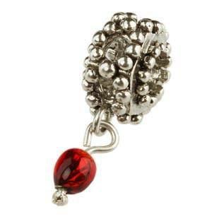 Silberkugel geschwärzt mit roter Glaskugel, Charlot Borgen Design