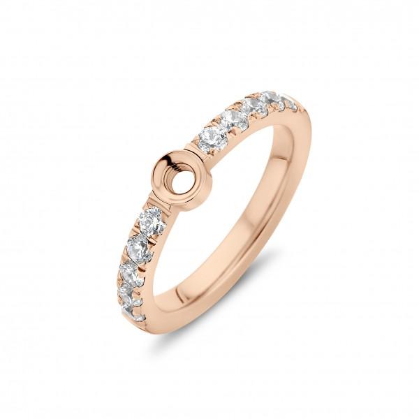 Melano Twisted Ring Crystal Edelstahl rosé beschichtet mit Zirkonia TR17