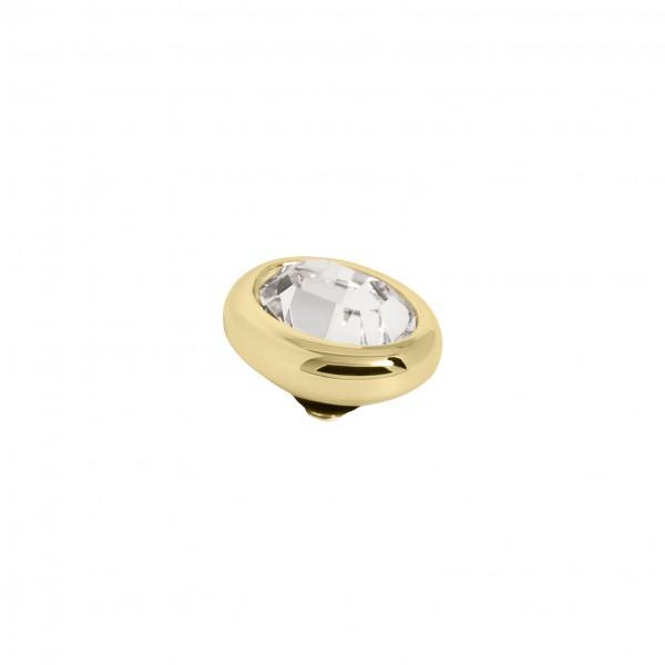 Melano Twisted Ringaufsatz, Fassung Edelstahl goldfarben mit Swarovski Element in Farbe Kristall