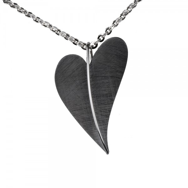 Ernstes Design Anhänger, AN401, Herz aus Edelstahl schwarz beschichtet ohne Kette