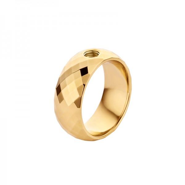 Melano Vivid Ring VAI Edelstahl goldfarben beschichtet facettiert M01R 9090 Breite 8 mm