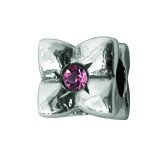 Silber Charms mit rosa Swarovski Steinen Anhänger, Kugel, Bead Silber APS 008 Piccolo das Original