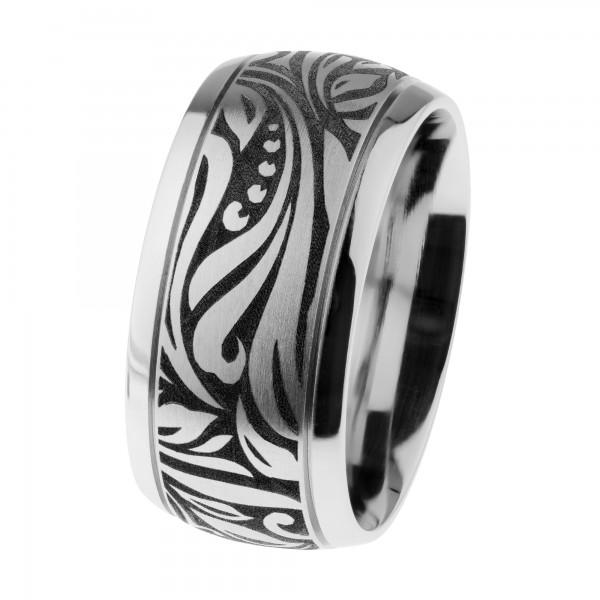 Ernstes Design Ring Edelstahl poliert, mattiert, graviert ca. 10 mm R525