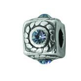 Silber Charms mit Swarovski Steinen Anhänger, Kugel, Bead Silber APS 007 von Piccolo das Original