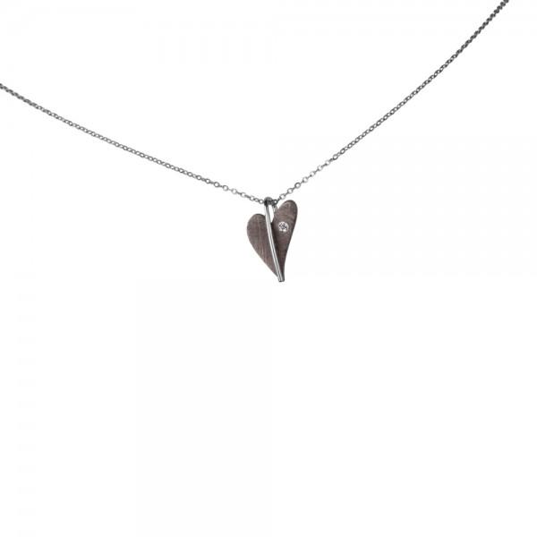 Ernstes Design Anhänger, kleines Herz aus Edelstahl altbronze mit Diamant ohne Kette, AN418