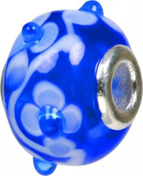 Mundgeblasene Muranoglaskugel mit Silberkern, Charm, Bead, GPS 46 blau von Piccolo das Original