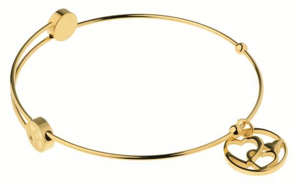Ernstes Design Bangle Armreif Stahlreif A310 Herzen aus Edelstahl goldfarben beschichtet
