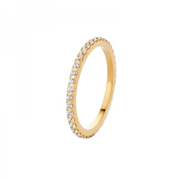 Melano Vorsteckring, schmaler Ring aus Edelstahl godfarben mit Zirkonia Farbe Kristall