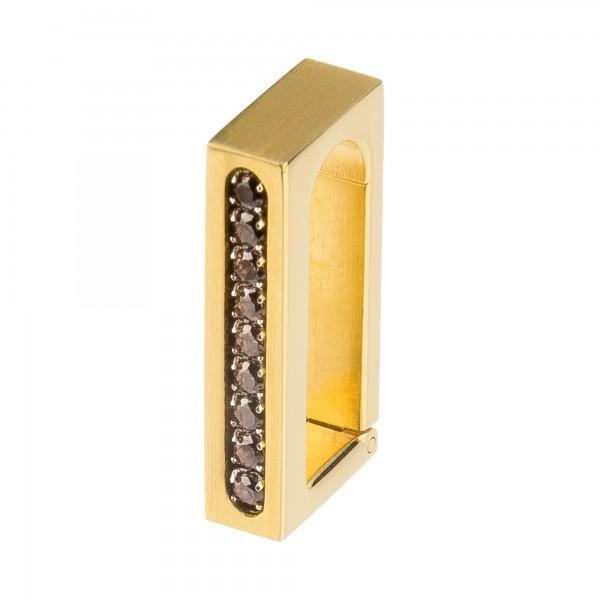 Ernstes Design Anhängerverschluss Edelstahl goldfarben mit Zirkonia Braun ANV06.BR