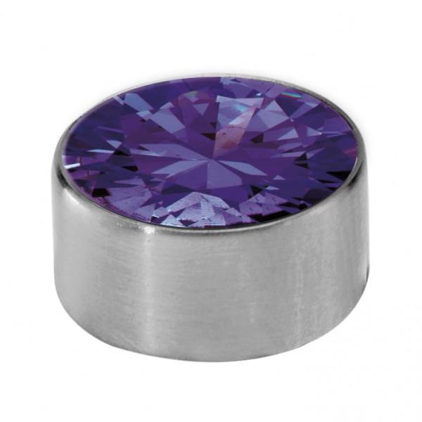 Melano Edelstahl Fassung, Aufsatz für Ring von MelanO Schmuck zum Wechseln M01SR 4065B purple