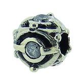 Silber Charms mit weissem Stein, Anhänger, Kugel, Bead Silber APX-007 von Piccolo das Original