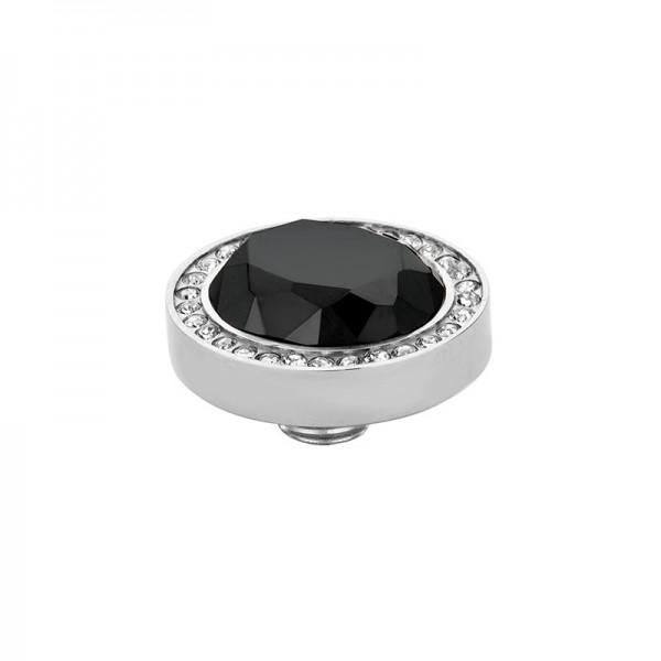 Melano Vivid M01SR 9052 Aufsatz/Fassung aus Edelstahl mit Zirkonia in Farbe Kristall / Schwarz