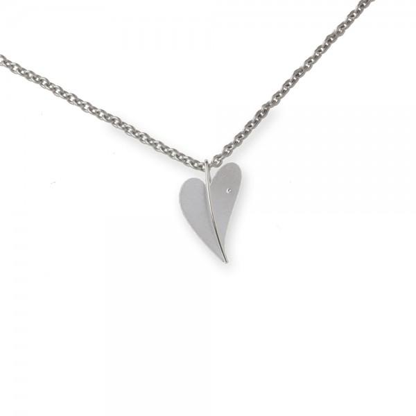 Ernstes Design Anhänger, Herz aus Edelstahl mit Diamant ohne Kette, AN273