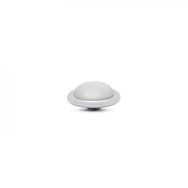 Melano Vivid, VM32 Aufsatz / Fassung Frosted Round, 14mm, Edelstahl / Stein in white