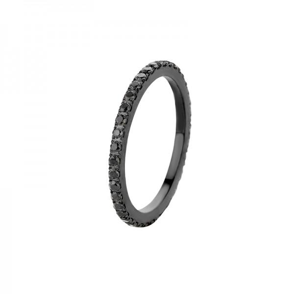 Melano Vorsteckring, schmaler Ring aus Edelstahl schwarz mit Zirkonia Steinen in Farbe schwarz