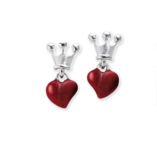 heartbreaker Herz mit Krone Ohrstecker Silber mit Lack rot LD LP 22 RM Heartbreaker by Drachenfels