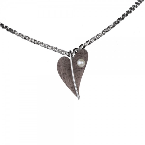 Ernstes Design, Herz Anhänger Edelstahl altbronze mit Süßwasser Perle ohne Kette, AN408