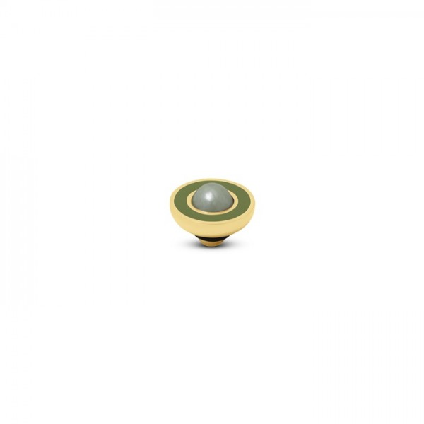 Melano Vivid, VM34 Aufsatz / Fassung Resin Pearl, 8mm, Edelstahl goldfarben, olive und light green