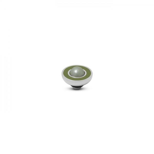 Melano Vivid, VM34 Aufsatz / Fassung Resin Pearl, 8mm, Edelstahl, in olive und light green