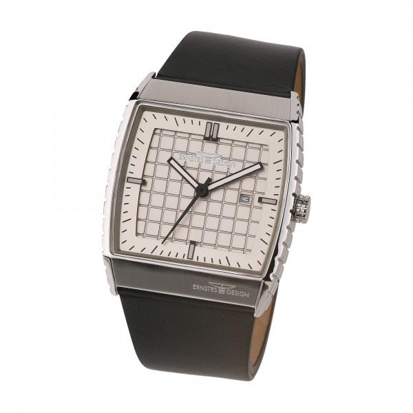 Ernstes Design Herren-Armbanduhr Edelstahl mit Lederarmband U017 BL ca. 40 x 45 mm