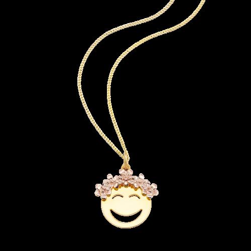 "So Cosi ""Flower Power"" Halskette, Collier, Anhänger inkl. Kette Silber goldfarben beschichtet"