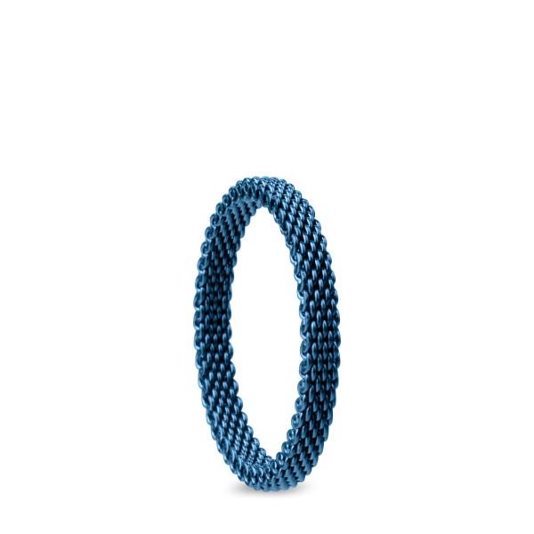 Bering 551-71-X1 Kombinationsring Innenring Schmal Edelstahl Milanaise Blau
