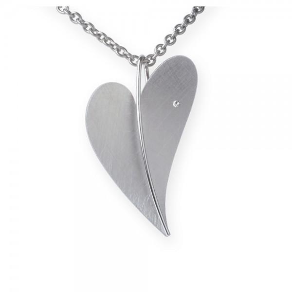 Ernstes Design Anhänger, großes Herz aus Edelstahl mit Diamant ohne Kette, AN229