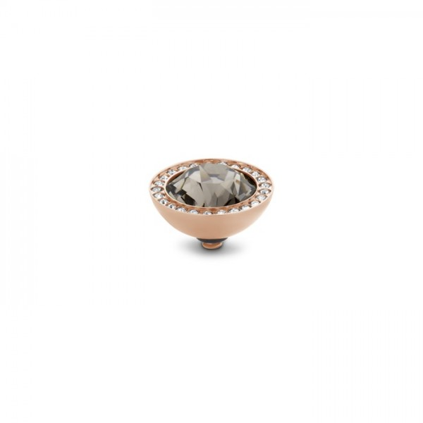 Melano Twisted Ringaufsatz, Fassung Edelstahl rosé mit Zirkonia in Farbe Black diamond