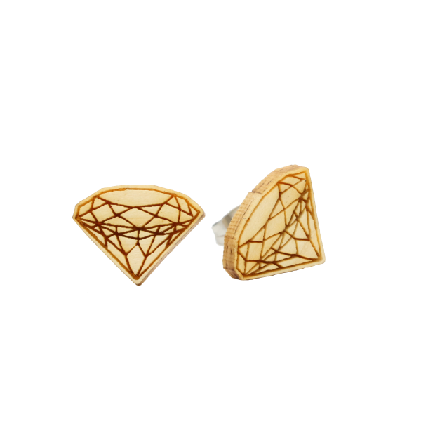 Eydl wood jewelry, CLASSIC Ohrstecker, Diamant, Edelstahl / Holz, 15 mm