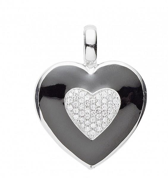 Gerry Eder Anhänger Herz in Herz Silber mit Zirkonia und schwarzer Emaille 21.EX489