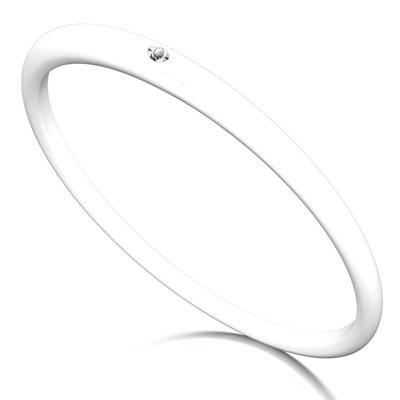Duepunti Armreif Reif Bangles aus Silikon in weiß mit einem Diamanten