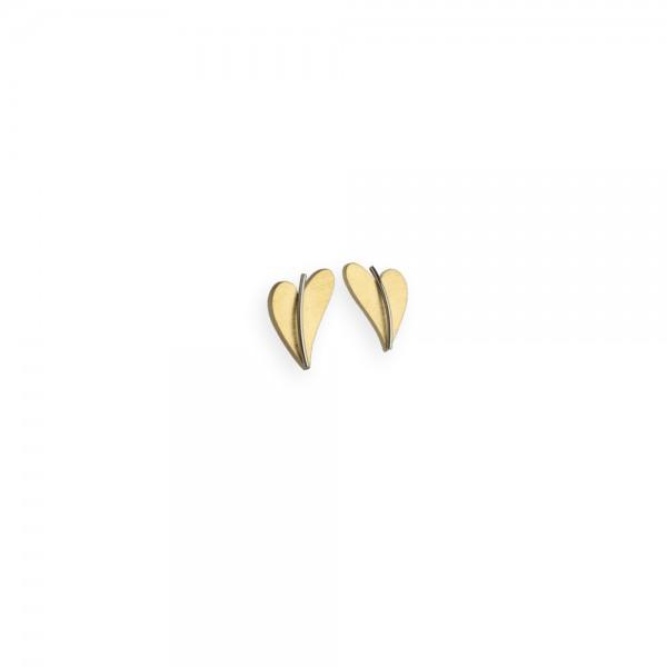 Herz Ohrstecker von Ernstes Design in Edelstahl gelbgold, E261 geschwungenes Herz
