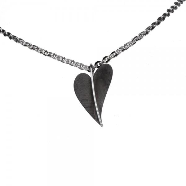 Ernstes Design Anhänger, AN407, Herz aus Edelstahl schwarz beschichtet ohne Kette