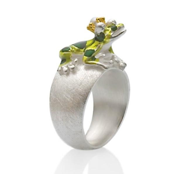 Drachernfels Ring Frosch mit Krone Silber D GFR 11 Drachenfels Design Schmuck Giftpfeilfroschkönig