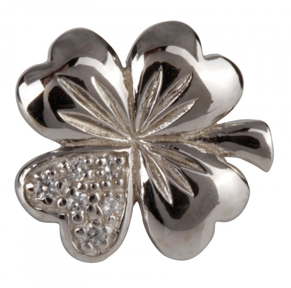 Grace Anhänger CDS-06 Kleeblatt mit Herz, Silber Clip, Bead, Charms fürs Lederarmband