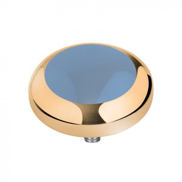 Melano Vivid Kopf Aufsatz Fassung Resin Meddy´s Edelstahl goldfarben mit Zirkonia Farbe jeansblau