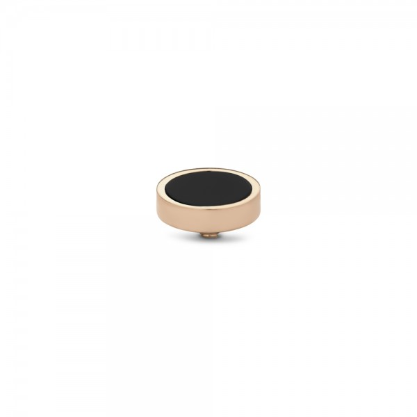 Melano Twisted Ringaufsatz, Fassung, Gemstone Plate, TM62, Edelstahl rosé mit Onyx