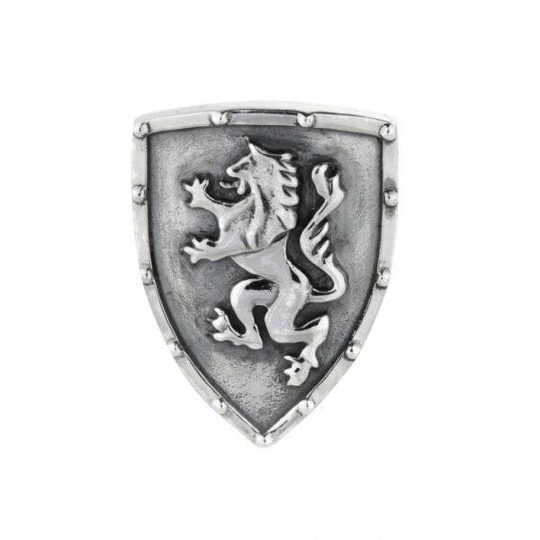 Rebeligion Anhänger Schild mit Löwen Wappen Add On Large / Men Silber Black Rock fürs Armband