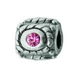 Silber Charms mit rosa Swarovski Steinen Anhänger, Kugel, Bead Silber APS 010 Piccolo das Original