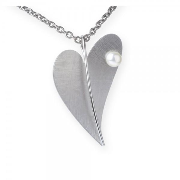 Ernstes Design, Herz Anhänger Edelstahl mit Süßwasser Perle ohne Kette, AN214