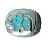 Piccolo Anhänger, Charm, Bead, Kugel APE-004 Elefant Emaillekugel mit Silberkern