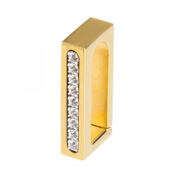Ernstes Design Anhängerverschluss Edelstahl goldfarben mit Zirkonia Weiß ANV06.WH