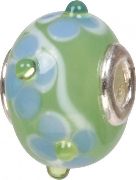 Mundgeblasene Muranoglaskugel mit Silberkern, Charm, Bead, GPS 46 grün von Piccolo das Original
